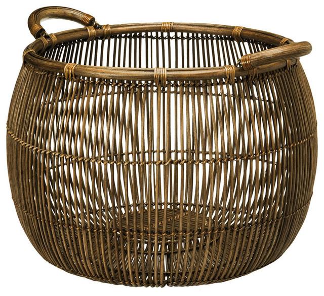 Superior Open Weave Rattan Storage Basket Tropical Baskets