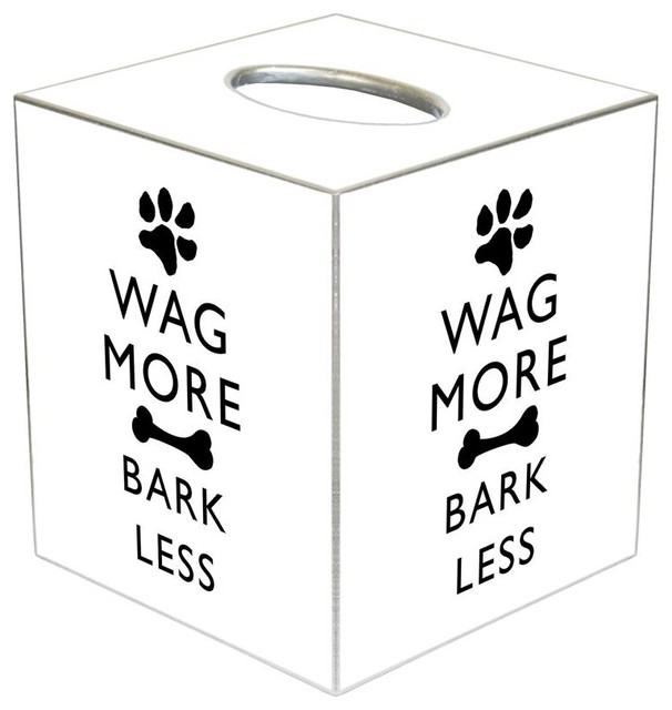 Marye kelley tb2482 wag more bark less black on white for Bathroom 4 less review