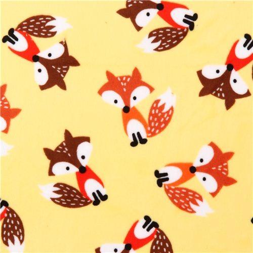 yellow fox minky fabric fleece plush Timeless Treasures