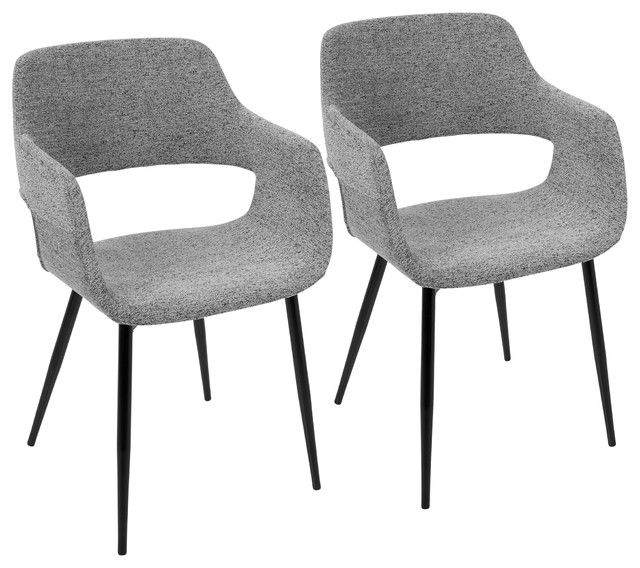 LumiSource Margarite Dining Chair, Gray, Set of 2