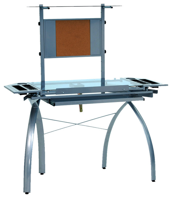 Offex Futura Tower Blue Tempered Glass Top Drafting Table, Silver