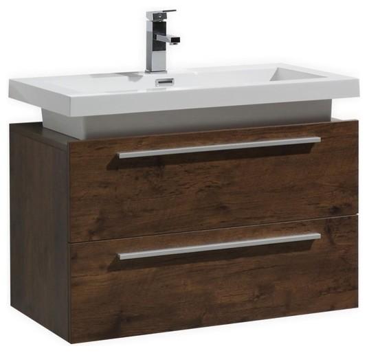 32 Rose Wood Wall Mount Modern Bathroom Vanity With Vessel Sink.