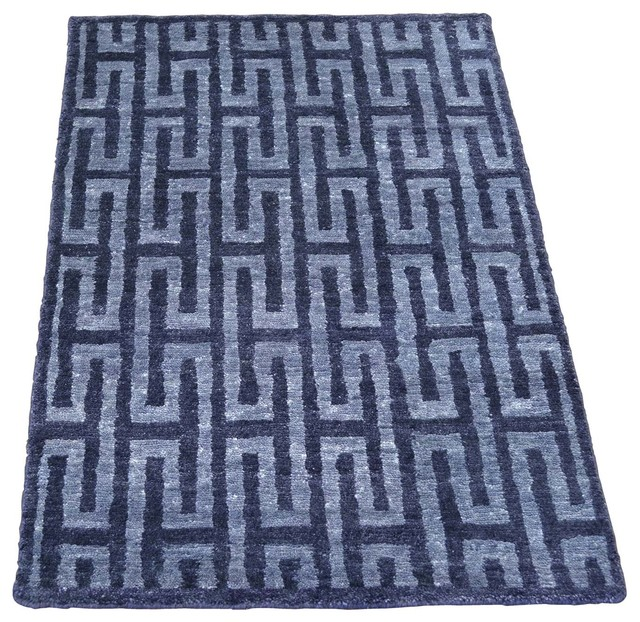 2 X3 Navy Blue Modern Wool And Silk Hand Knotted Oriental