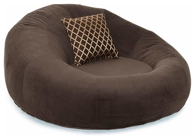 Contemporary Round Lounge Seat Is Soft, Durable, Long Lasting Firmness, Brown.
