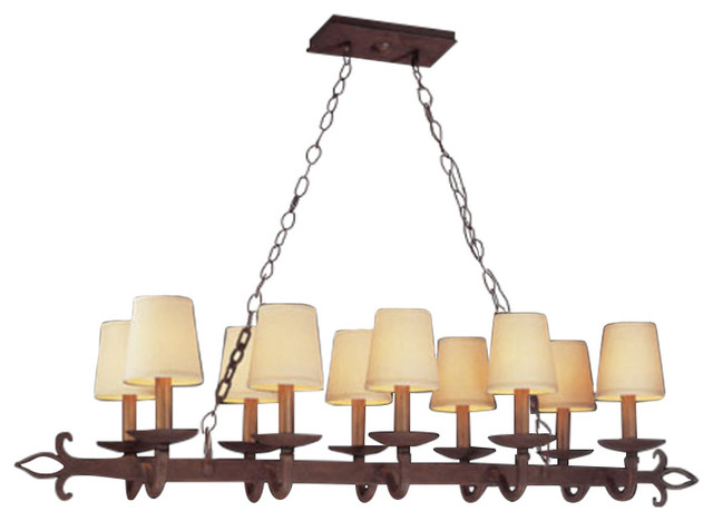 Island Lighting 10 Light With Burnt Sienna Hand Forged Iron 15 600w