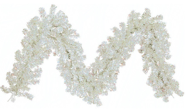 Pre-Lit Tinsel Artificial Christmas Garland, Clear Lights, Silver, 9&x27;x12.