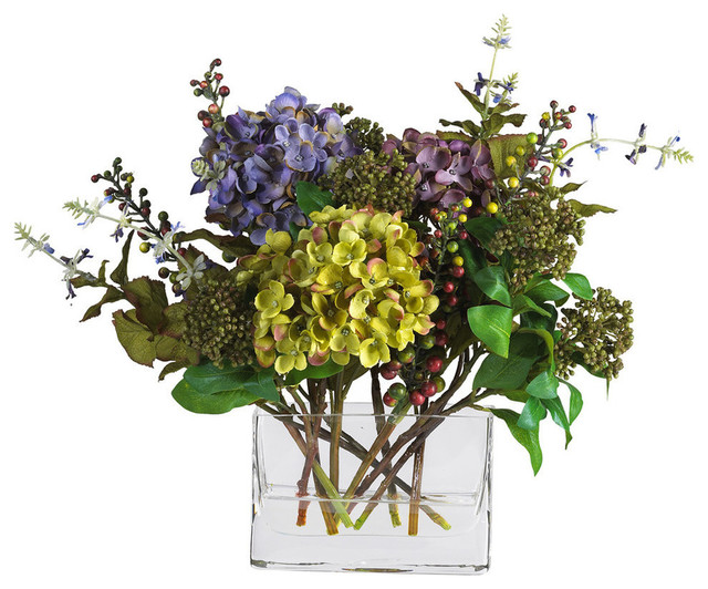 artificial flower arrangements for graveside diy mixed hydrangea with rectangle vase silk arrangement contemporary arran