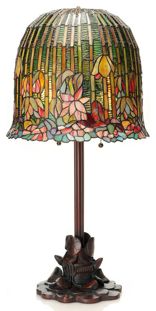 29 Tiffany Style Pond Lily Stained Glass Table Lamp by River of Goods