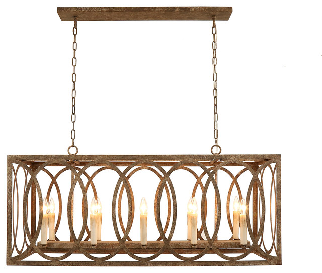 Chatrie Large Rectangular Brown Chandelier, 45""