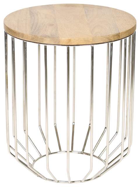 Wire Frame Accent Table With Tapered Base In Polished Nickel Finish  Transitional Side Tables