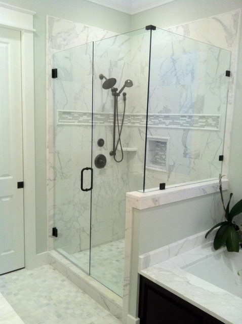 Calacatta Gold Marble Shower Contemporary Atlanta By