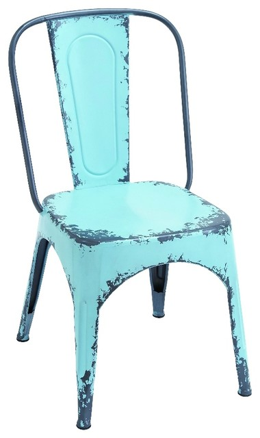 Charmer Metal Chair, Antiqued Baby Blue Industrial Dining Chairs