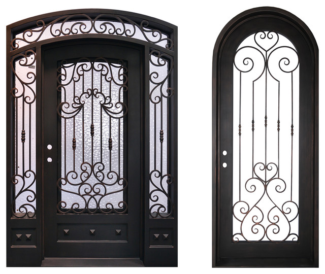High End Front Entry Wrought Iron Door With Same Style Single Door