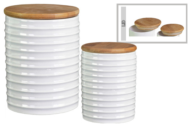 Edwall 2-Piece Ceramic Canister Set, Gloss White.