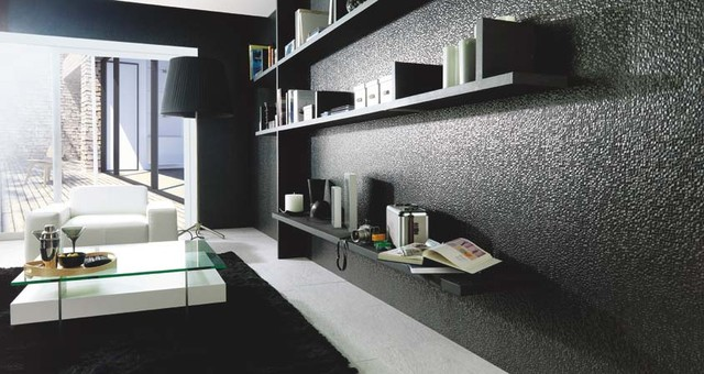 CUBICA NEGRO 13X40 Modern Living Room By Porcelanosa
