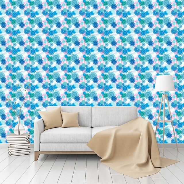 Peel And Stick Textured Wallpaper: Spinning Flowers Patterned Peel & Stick Textured Wallpaper