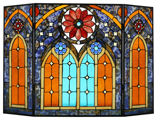"27.5"" Roman-Style Stained Glass Cathedral Fireplace Screen."