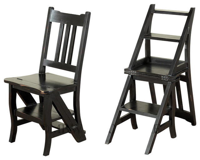 Distressed Black Convertible Ladder Chair Library Step Stool