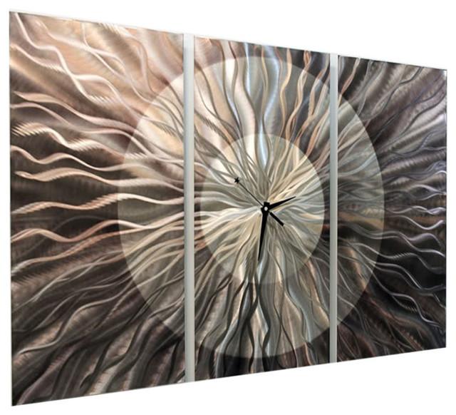 Quot Obsidian Burst Quot 3 Piece Metal Wall Clock 38 Quot X24