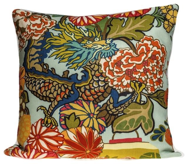 Schumacher Chiang Mai Dragon Pillow Cover, Aquamarine, 20x20.