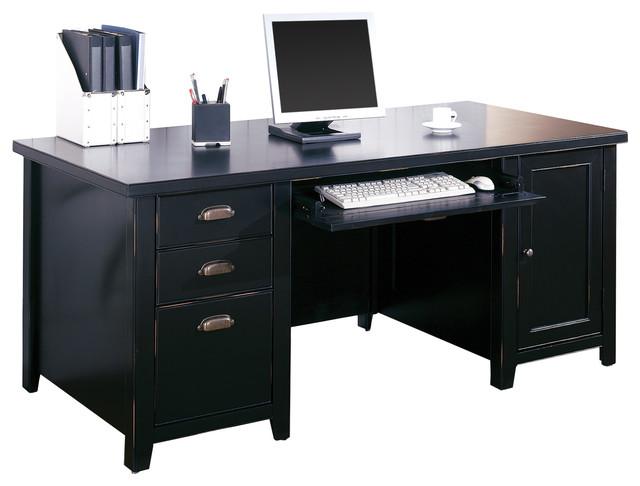 Kathy Ireland Home Tribeca Loft Black Double Pedestal Computer Desk