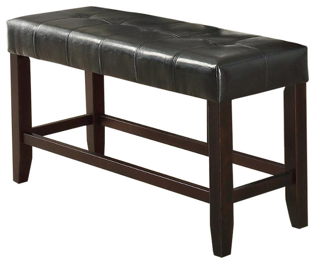 Wood Based High Bench With Tufted Seat Black And Brown.