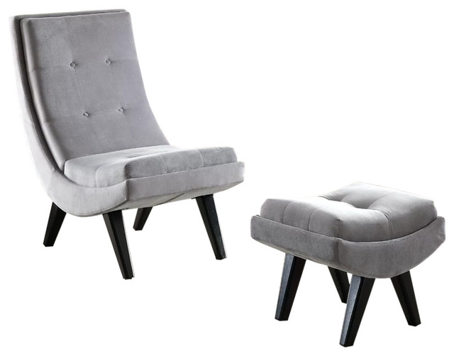 Cool Esmeralda Transitional Accent Chair With Ottoman Gray Spiritservingveterans Wood Chair Design Ideas Spiritservingveteransorg