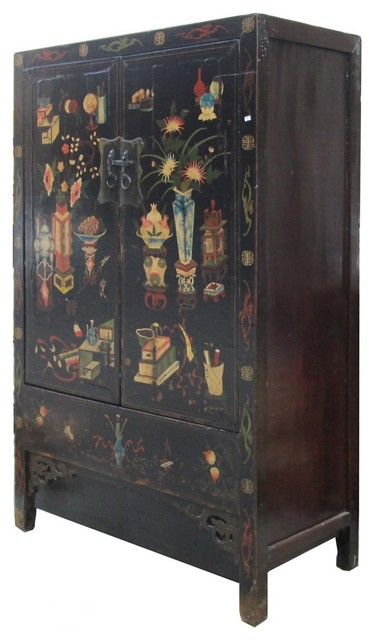 Chinese Lacquer Color Vase Graphic Armorie Storage Cabinet