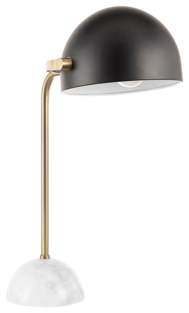 Lumisource Bello Table Lamp, White Marble, Gold Metal Frame, Black Shade