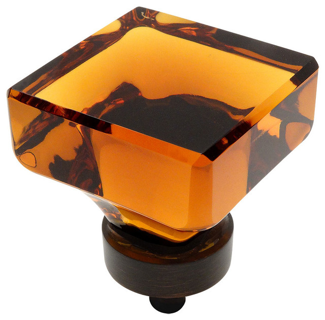 Cosmas 6377ORB Oil Rubbed Bronze And Glass Square Cabinet Knob, Amber Glass