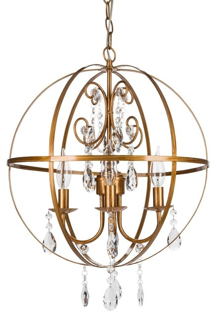 Luna 4-Light Wrought Iron Crystal Orb Chandelier, Gold