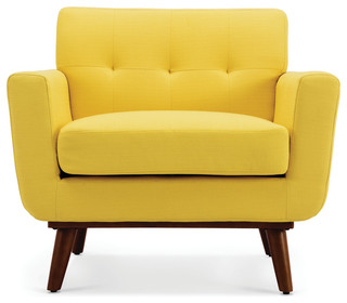 Isaiah Mid-Century Low-Back Accent Arm Chair, Yellow midcentury-armchairs-and-accent-chairs