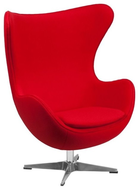 Egg Chair Accent Chairs.Pemberly Row Wool Fabric Egg Chair Red
