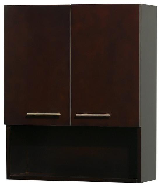 Wall Mounted Bathroom Storage Cabinet Espresso 2 Door