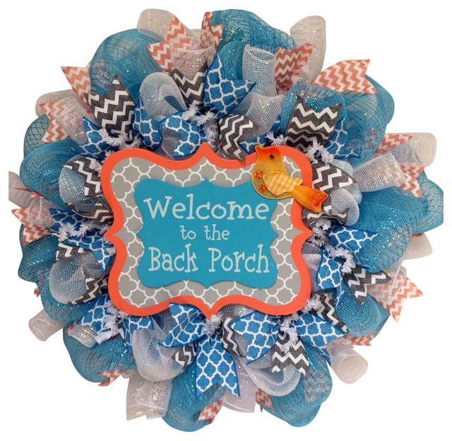 b37eb973f Welcome to the Back Porch Spring or Summer Deco Mesh Wreath - Contemporary  - Wreaths And Garlands - by What A Mesh By Diana