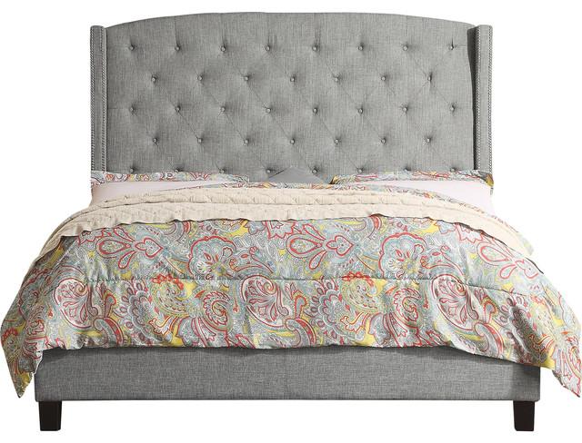 Noblesville Fullupholstered Panel Bed, Gray, Full.