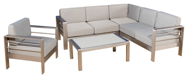 Allen Outdoor Silver Aluminum Sofa With Cushions 5-Piece Set.