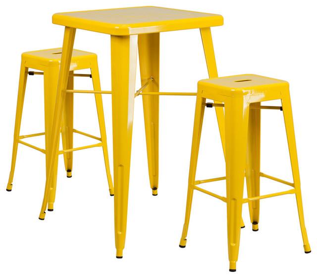 Flash Furniture Metal Indoor Outdoor Bar Table Set With 2