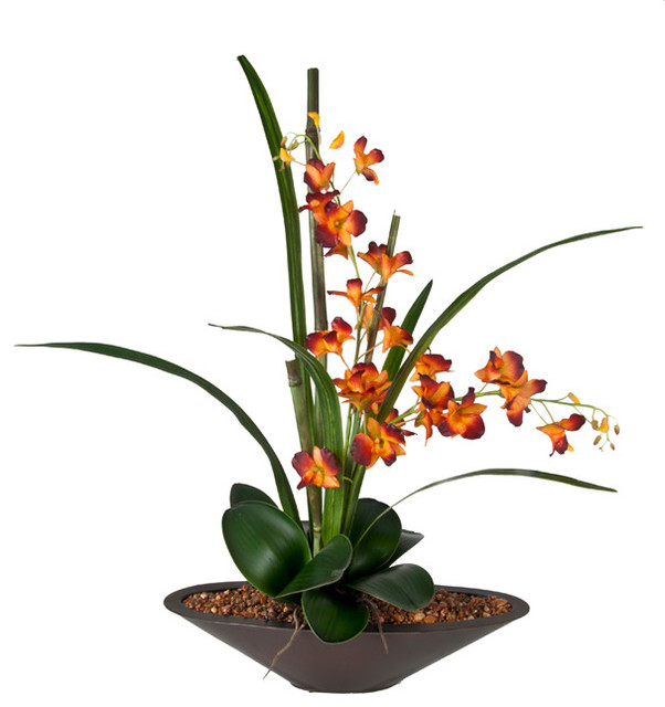 Faux Orchid in Zinc Container  Modern  Artificial Flower