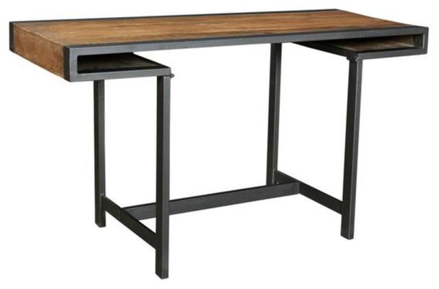 Modern Mango Wood And Black Iron Desk, Mango Wood Desk
