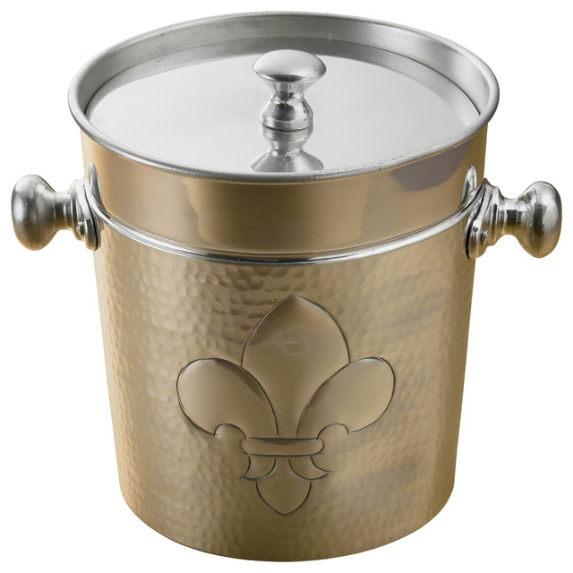 Dimpled Aluminum Fleur-de-Lis Ice Bucket contemporary-ice-tools-and