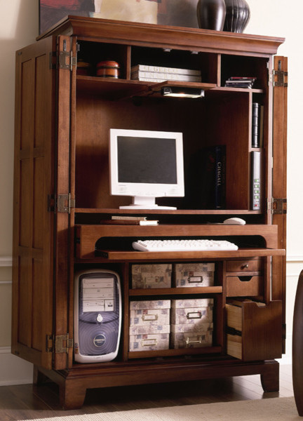 riverside urban crossings computer armoire in fawn cherry traditional