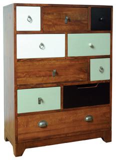 Mango Wood Camden Vintage 10 Drawer Dresser Multi