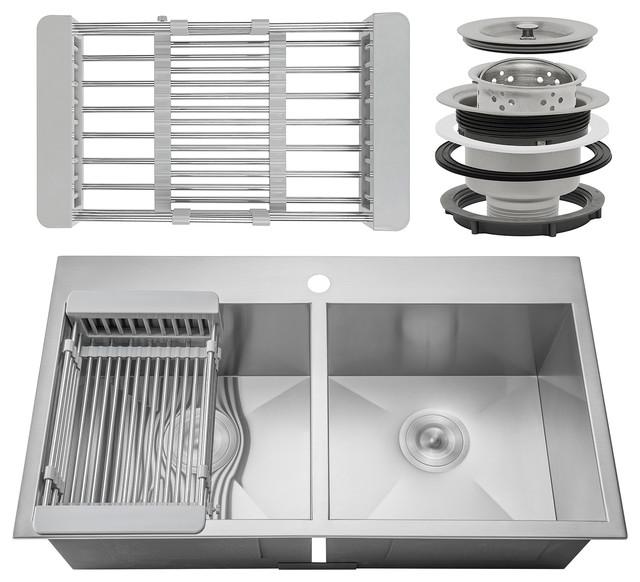 "Akdy 33""x22""x9"" Handmade Stainless Steel Top Mount Kitchen Sink 50/50 Basin."