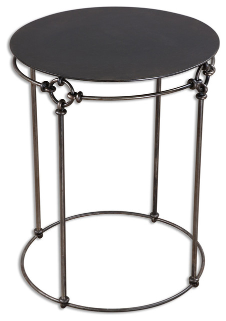 Uttermost 24472 Bertille Iron Accent Table   Industrial   Side Tables And  End Tables   By Lighting Front