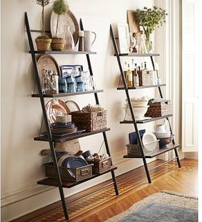 Morgan Metal Amp Wood Leaning Bookcase Shelf Traditional Bookcases By Pottery Barn