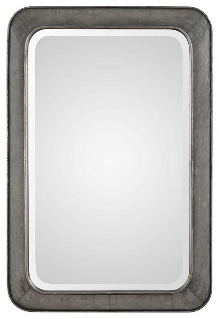 Contemporary Rustic Silver 30 Vanity Mantel Mirror, Hammered Industrial.