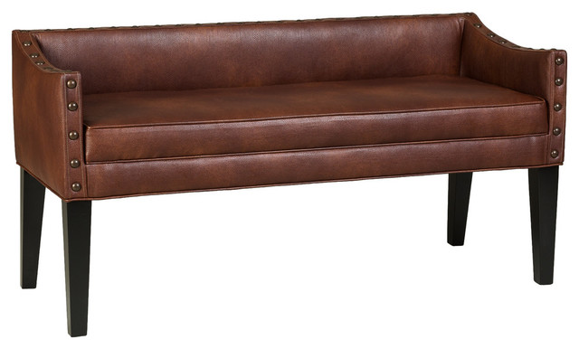 Ayala Upholstered Bench, Tobacco.
