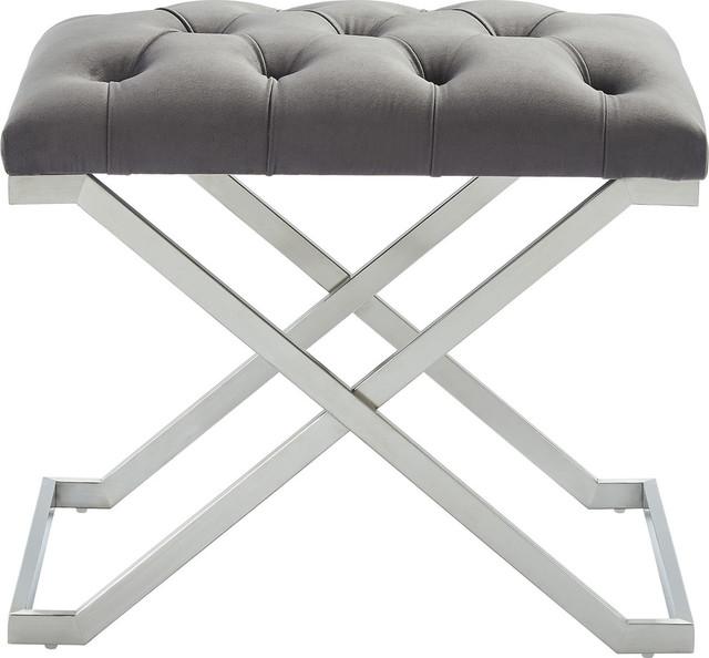 Aldo Single Bench, Gray, Silver.