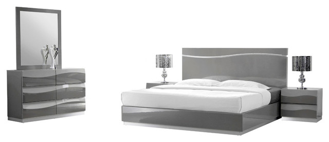 Leon Gray Modern 5Piece Bedroom Set Contemporary Bedroom